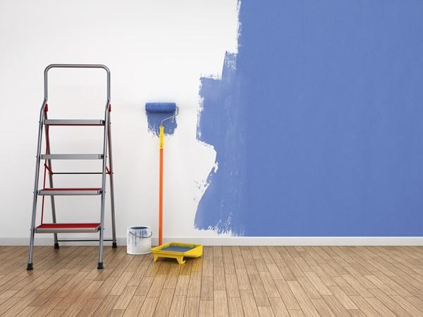 peinture bleue mur