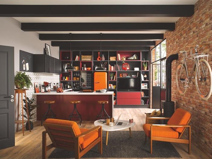 cuisine ouverte rouge design