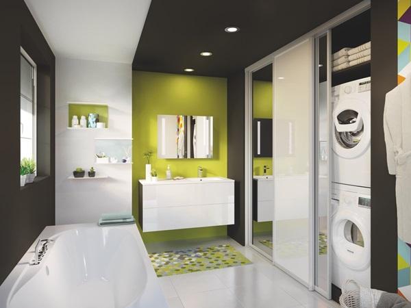 salle de bains blanc brillant design